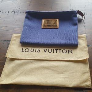 Auth Louis Vuitton Antigua Poochette PM Bleu